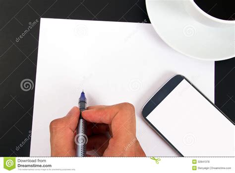 How To Make A Paper Touch Screen Phone - writing on paper and phone coffee stock photo