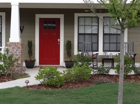 best paint for a front door red paint on front door on a taupe vinyl siding house