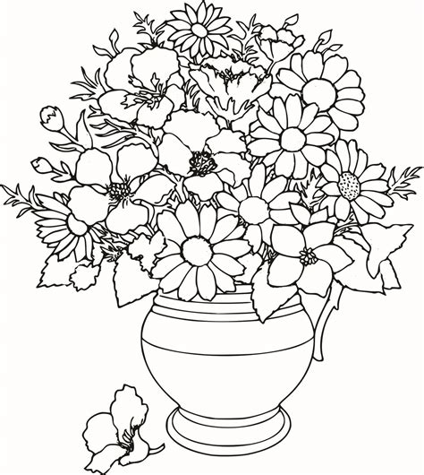 Mothers Day Coloring Pages Roses Free Large Images Flower Bouquet Coloring Pages