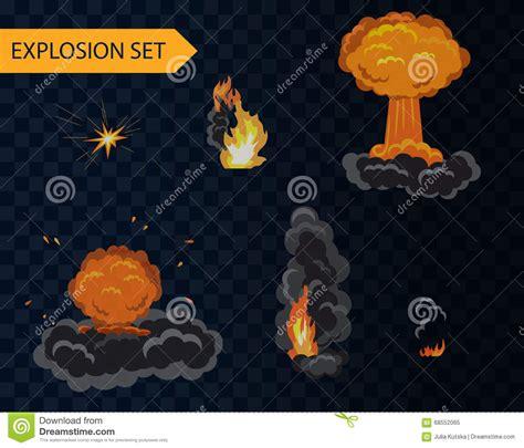 set with smoke explosion animation effect set with smoke stock