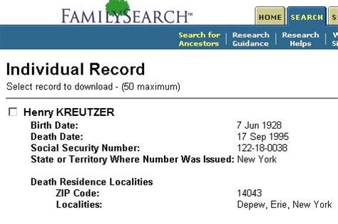 Us Social Security Index Records Family And Descendants Of N 233 E Schwert Ohl Kreutzer 1895 1990