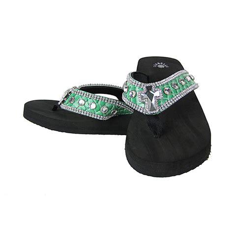 Rhinestone Flip Flops green croc rhinestone cross fashion flip flops sandals