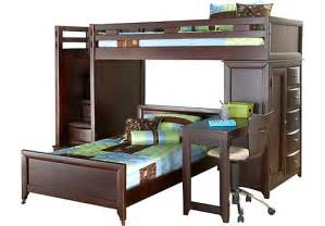 Ivy league cherry twin twin step loft bunk w chest and desk attachment