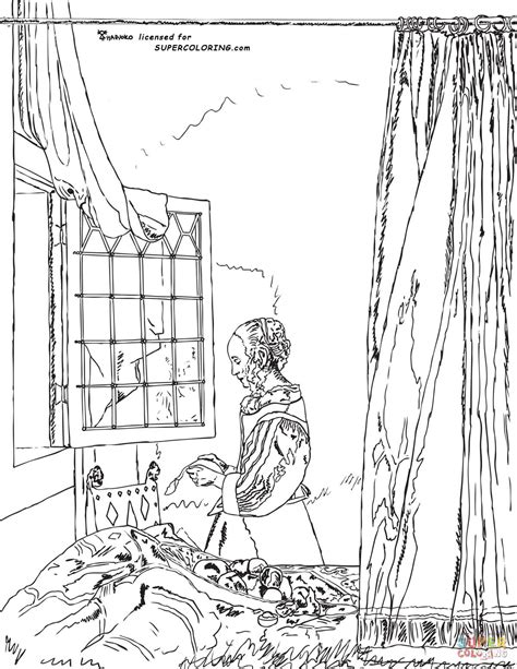 a book coloring page supercoloring com a girl reading a letter by an open window by johannes