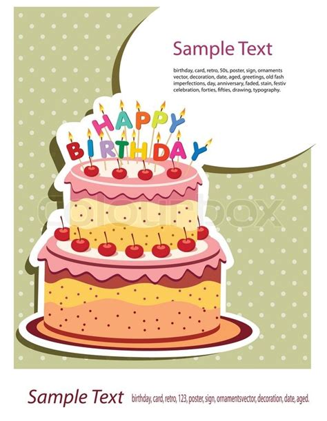 birthday cake shaped card template happy birthday card birthday cake stock vector colourbox
