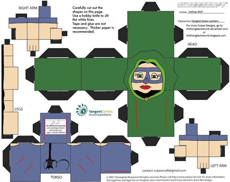 Green Lantern Papercraft - gl33 tangent green lantern cubee by theflyingdachshund on