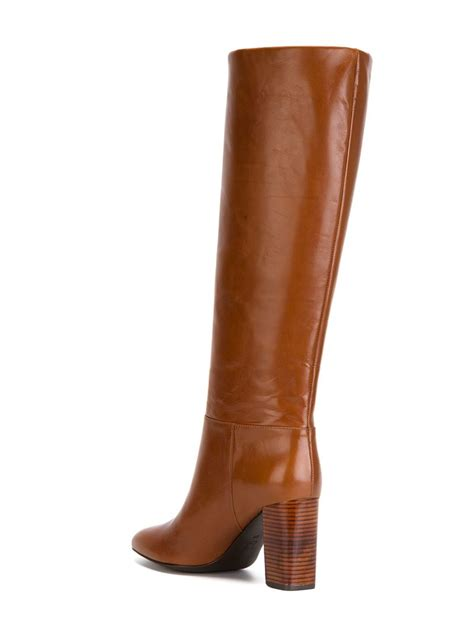 burch high heel boots burch heeled leather knee high boots in brown lyst
