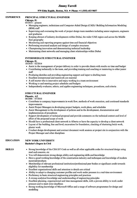 Structural Engineer Resume by Structural Engineer Resume Sles Velvet