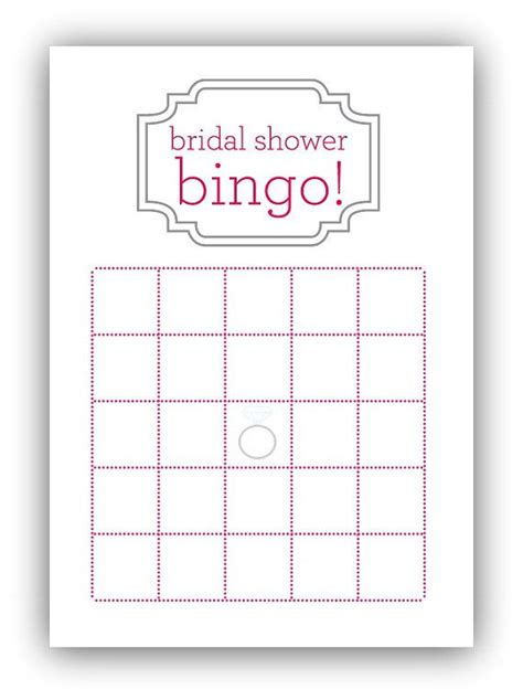 Blank Bingo Card Template For Bridal Shower by Bridal Shower Bingo Card