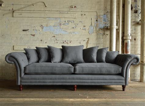 St Mawes Grey Wool Scatter Back Chesterfield Sofa Abode Grey Chesterfield Sofa