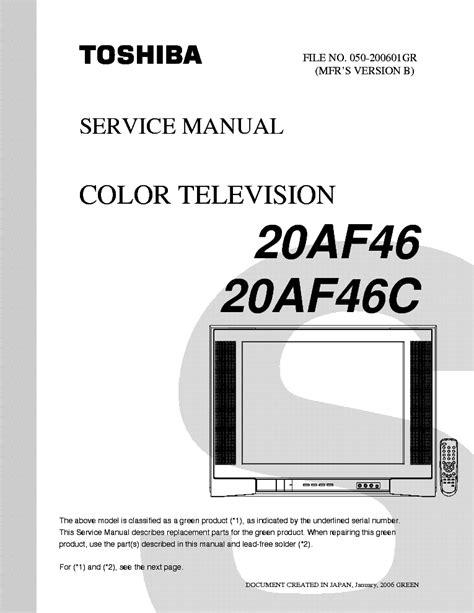 Toshiba 20af46 20af46c Service Manual Download Schematics