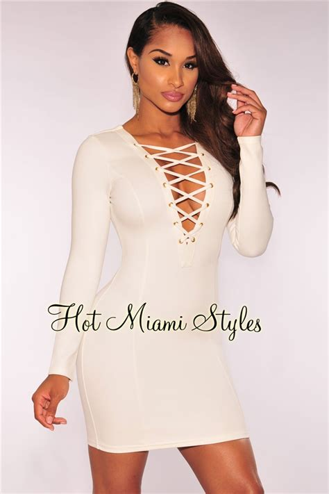 Lace Up Sleeve Dress white lace up sleeves dress