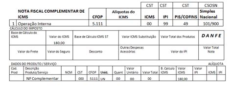 layout nf e complementar cfop 5111 nota fiscal de complemento de icms cfop
