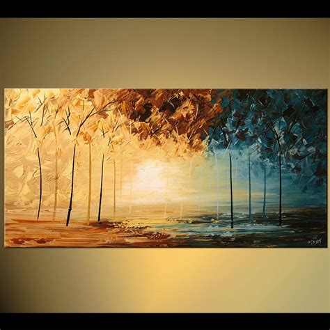 Moderne Bilder Malen 1299 by Painting Abstract Landscape Forest Trees Split 5775