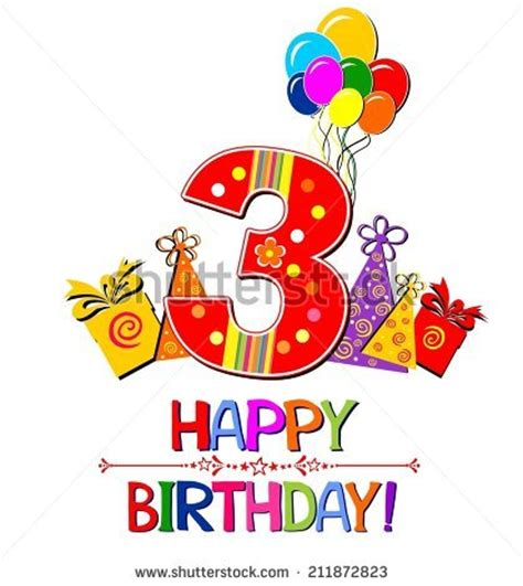 Happy Birthday 3 Year Card 3 Year Birthday Stock Images Royalty Free Images