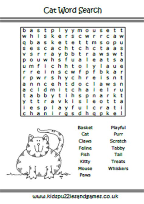 printable word search cats puzzle sheets word search kids puzzles and games