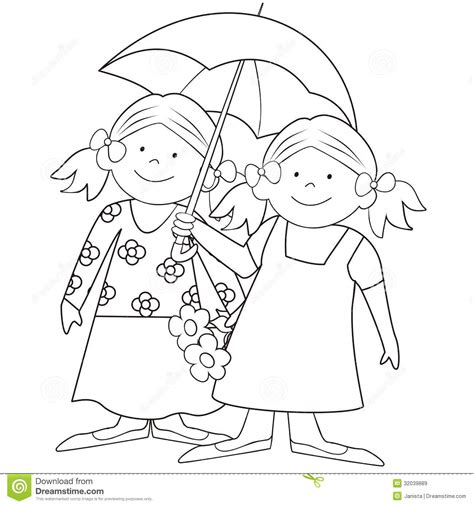 Between The Pages Black and umbrella coloring stock vector illustration of