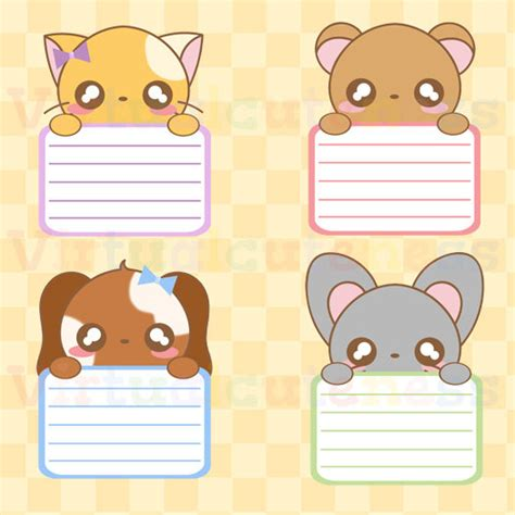 imagenes kawaii pdf kawaii animal lists clipart chibi kawaii animal labels