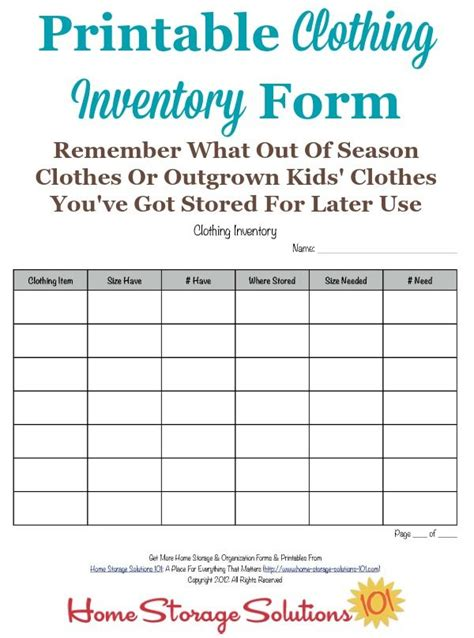 clothing inventory list template printable clothing inventory form seasons clothing