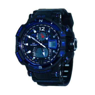 Jam Tangan Diesel Tali Kulit Hitam Dual Time Analog jual q q k1515 sporty dual time tali karet jam tangan pria hitam biru harga