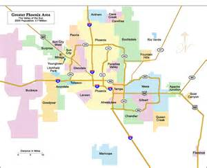 Phoenix Area Map by Phoenix Arizona Area Map Of Greater Phoenix And Scottsdale