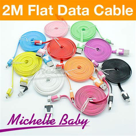 New Promo Optimuz Noodle Cable 2m Micro Usb 2 Meter Putih cell phone 2m colorful noodle flat cable v8 micro usb data charger cable for samsung s3 s4