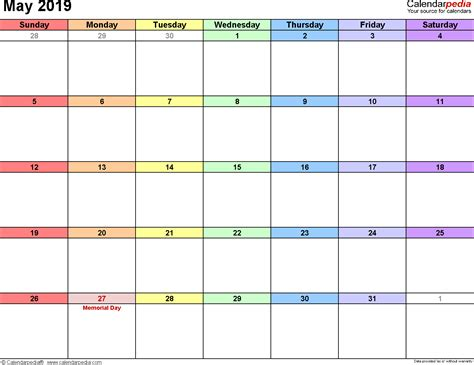 may 2019 calendar may 2019 calendars for word excel pdf