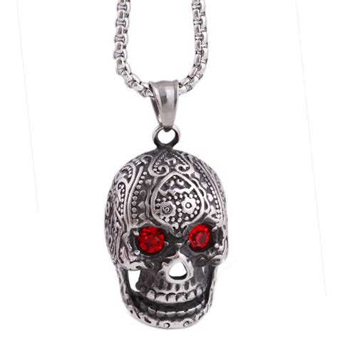 Rhinestone Skull Pendant Necklace fashion jewelry vintage carved skull pendant necklace with