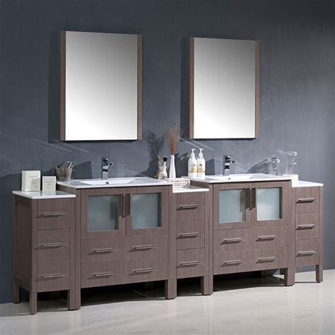 96 bathroom vanity cabinets fresca torino double 96 inch modern bathroom vanity gray oak with integrated sinks