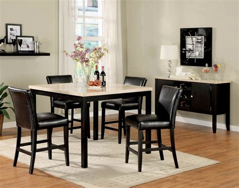 white marble top dining set 5pc black white faux marble top counter height dining set