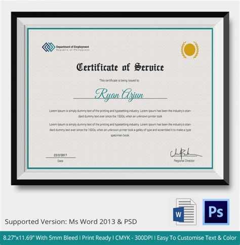 Service Certificate Template by Sle Certificate Of Service Template 16 Documents In