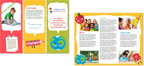 preschool brochure template child care brochure template 22 child care owner