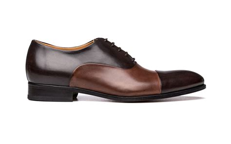 cap toe oxford shoes in brown brown antique italian leather
