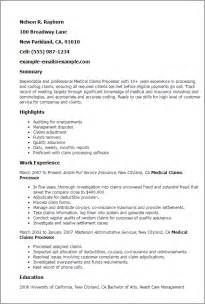 Processor Resume by Professional Claims Processor Templates To Showcase Your Talent Myperfectresume