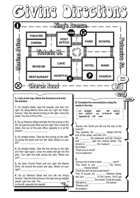 giving directions printable exercises giving directions interactive and downloadable worksheet