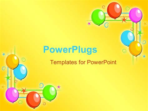 Powerpoint Template Five Multi Colored Balloons On Each Powerpoint Birthday Templates
