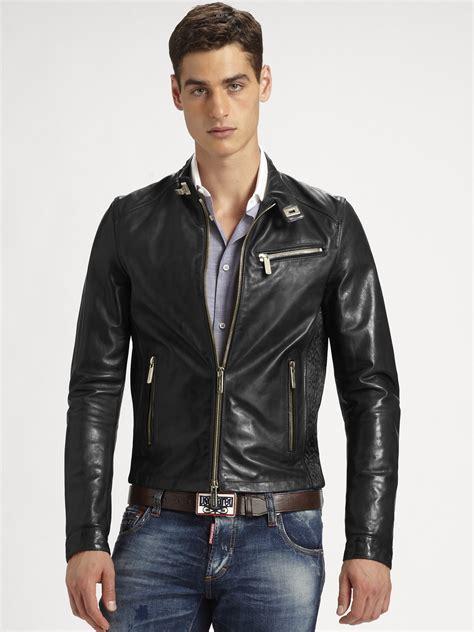 mens black leather motorcycle jacket dsquared 178 leather biker jacket in black for men lyst