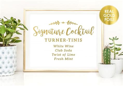 signature cocktail custom foil signs wedding signs in