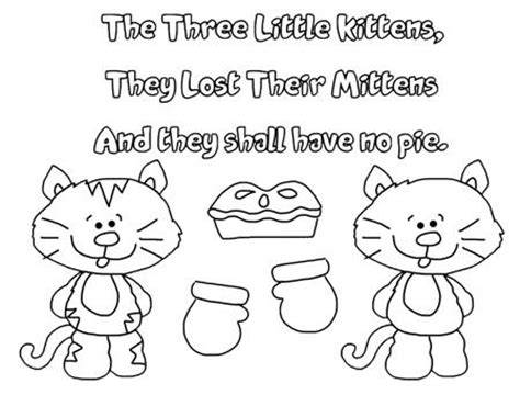 three little kittens coloring page three little kittens pattern who lost their mittens