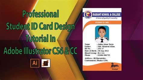 design id card in illustrator how to professional student id card design tutorial in