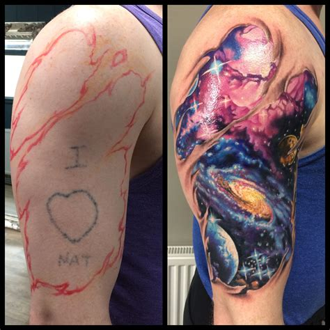 universe tattoo galaxy space ripped skin tatto
