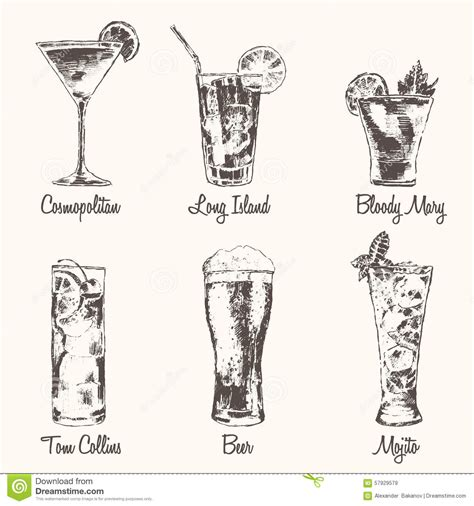 vintage cocktail illustration set cocktail cosmopolitan mojito vector stock