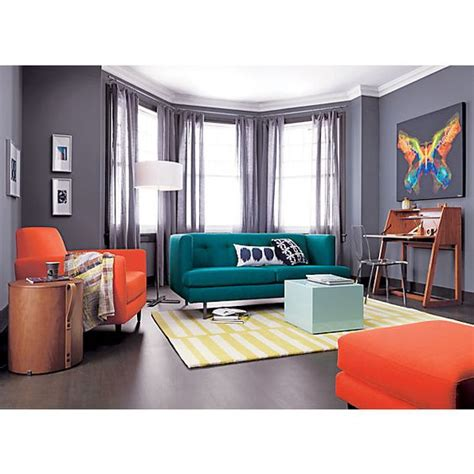 cb2 peacock sofa cerulean orange and gray color schemes on pinterest