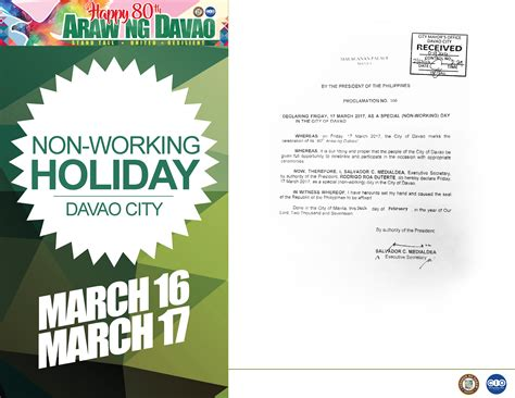 non working march 17 declared a non working holiday in davao city