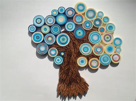 Home Decor Hiasan Dinding Pompom Crochet Wall Hanging Tosca Biru tree wall hanging blue orange wall decor abstract tree home