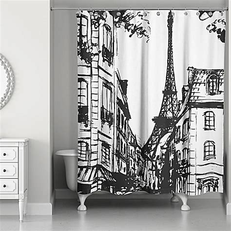 paris curtains bed bath beyond monochromatic paris shower curtain in black white bed