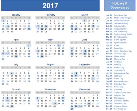 2017 calendar with holidays us uk canada free