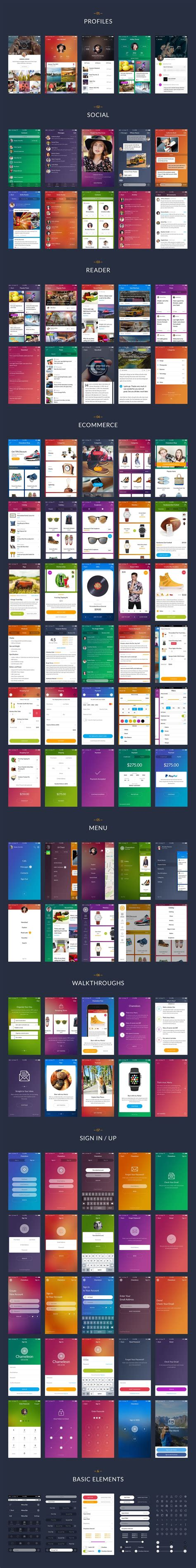 mobile ui themes chameleon is a modern mobile ui kit for sketch and