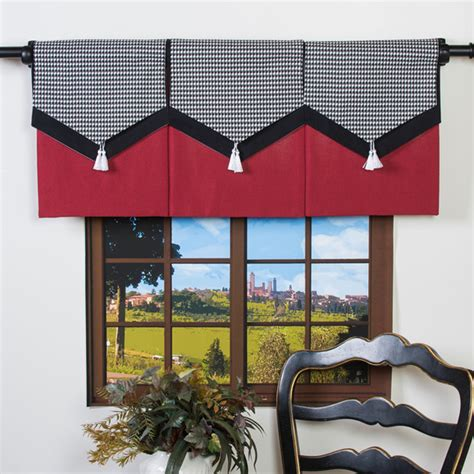 contemporary valance curtains design your valance houndstooth 3 panel valance