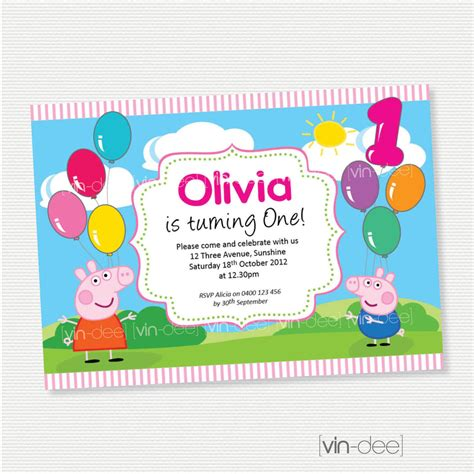 peppa pig balloons birthday invitation diy printables